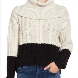 BP Nordstrom Colorblock Cable Knit Sweater